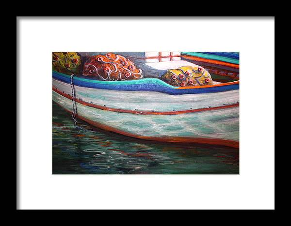 Boat Framed Print featuring the painting Fishing Boatgreek by Yvonne Ayoub