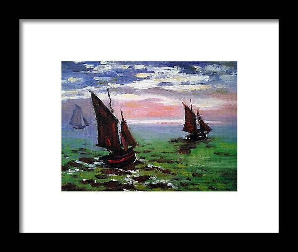 Claude Framed Print featuring the painting Fishing Boats At Sea by Peter Kupcik