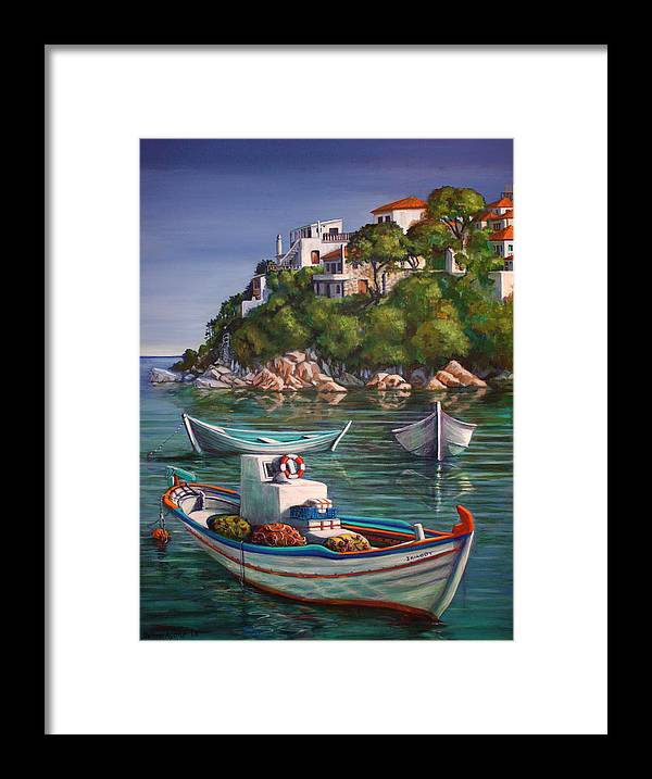 Boat Framed Print featuring the painting Fishing Boats In Skiathos Old Port by Yvonne Ayoub