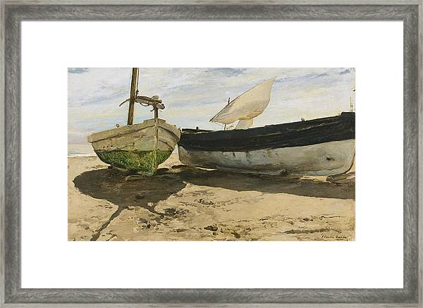 FISHING BOATS ON SHORES OF VALENCIA SPAIN PAINTING ART REAL CANVAS PRINT