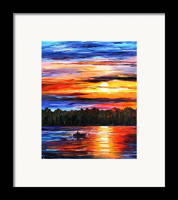 Seascape Framed Print featuring the painting Fishing By The Sunset by Leonid Afremov