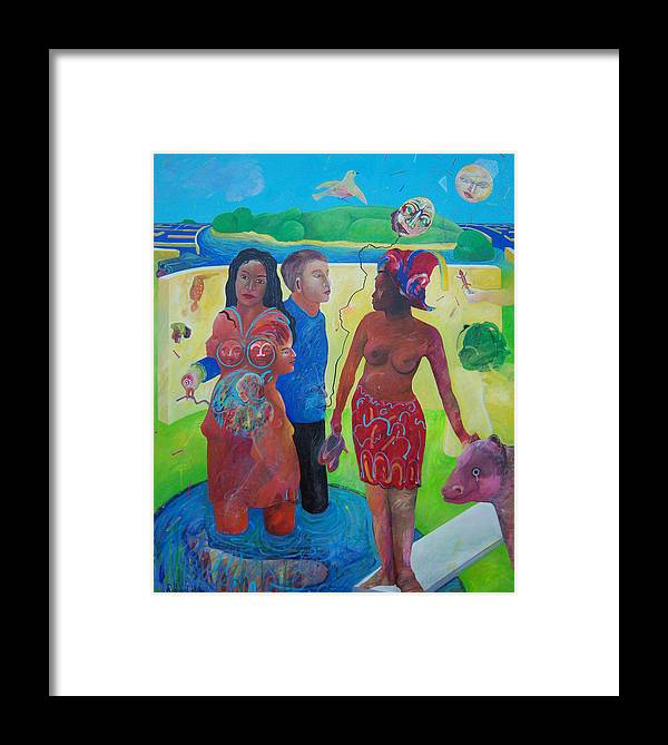 Human Relationships Framed Print featuring the painting Fishing For Chance Answers by Richard Heley