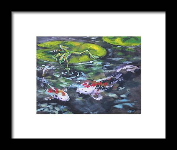 Koi Fish Water Waterscape Pond Lily Pad Nature Blue Red Green White Framed Print featuring the painting Fishing For Trouble by Alan Scott Craig