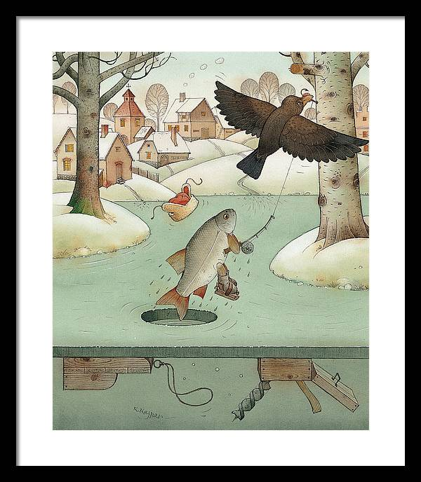 Landscape Winter Fishing Crow Framed Print featuring the painting Fishing by Kestutis Kasparavicius