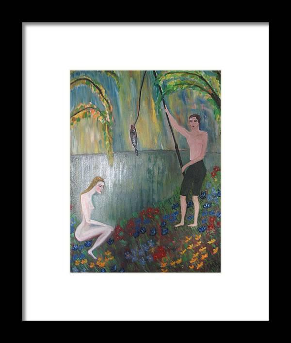 Maria Kolucheva Framed Print featuring the painting Fishing by Maria Kolucheva