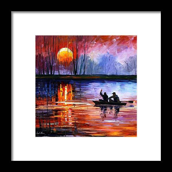 Seascape Framed Print featuring the painting Fishing On The Lake by Leonid Afremov