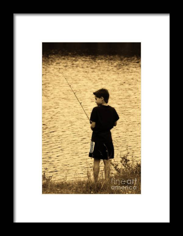 Child Framed Print featuring the photograph Fishing Patience by Cathy Beharriell