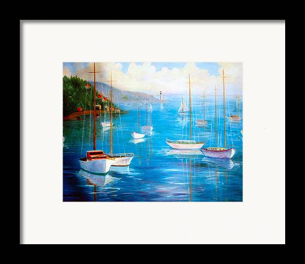 White Fishing Boats Framed Print featuring the painting Fishing Port by Jeanene Stein