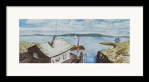 Puget Sound Framed Print featuring the painting Fishing Shack With Old Glory by Robert Thomaston