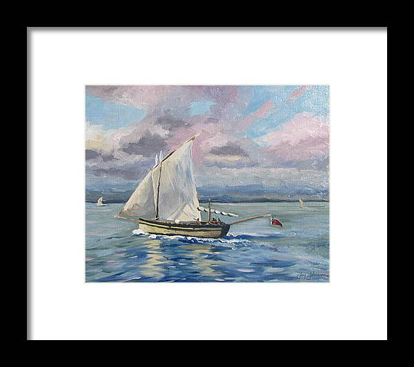 Sailing The Channel Framed Print featuring the painting Fishing The Channel by Jay Johnson