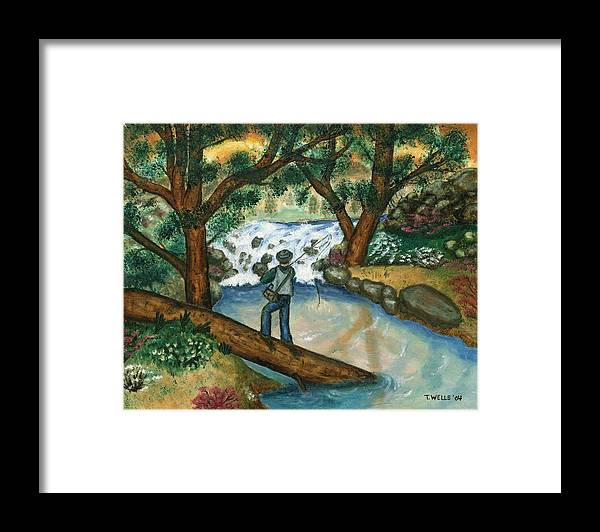 Fisherman Fly Fishing In A Sunny Stream Framed Print featuring the painting Fishing the Sunny River by Tanna Lee M Wells