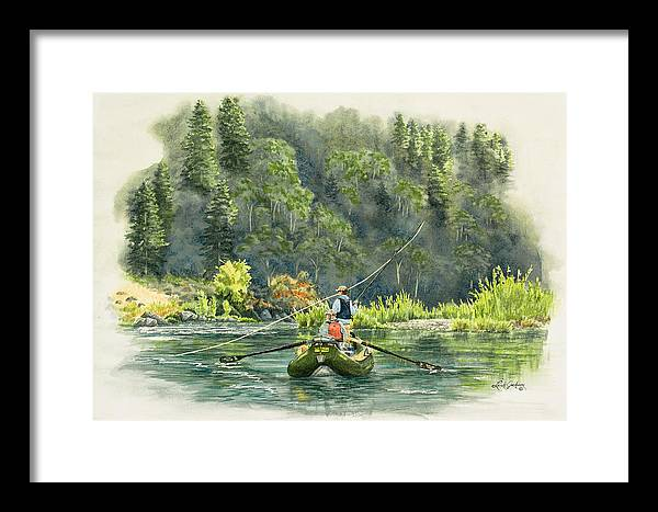 Fly Fishing Framed Print featuring the painting October Morning Fishing The Trinity River by Link Jackson