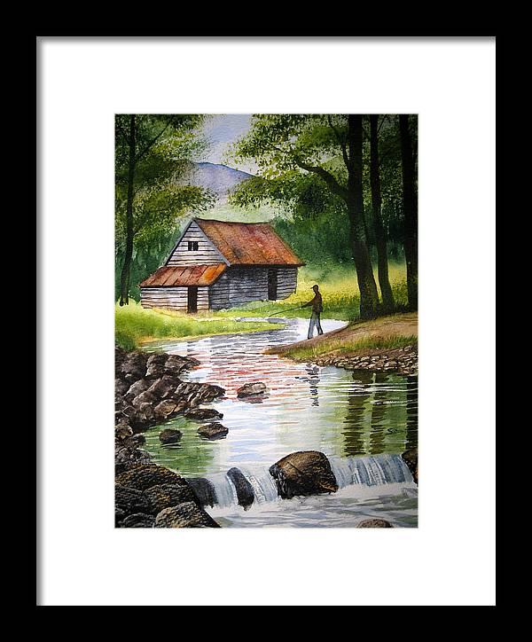 Fishing Framed Print featuring the painting Fishing Upstream by Shirley Braithwaite Hunt