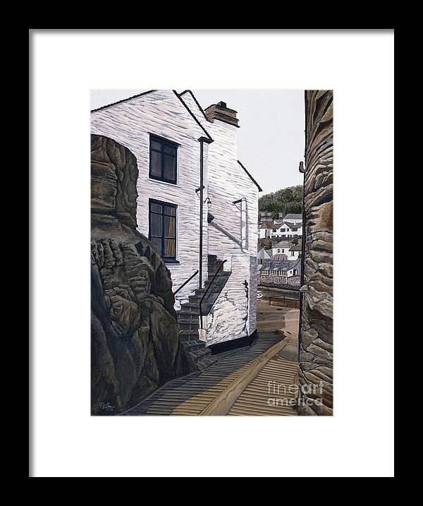 European Framed Print featuring the painting Fishing Village by Jiji Lee