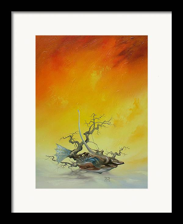 Framed Print featuring the painting Fishtree 6. by Zoltan Ducsai
