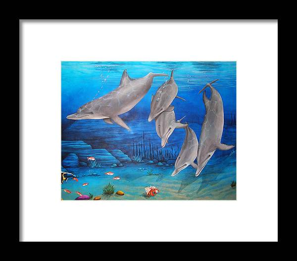 Dolphin Framed Print featuring the painting Five Friends by Cindy D Chinn