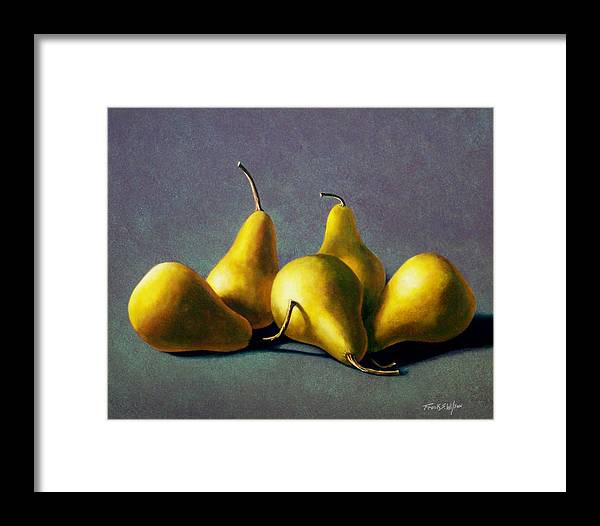 Still Life Framed Print featuring the painting Five Golden Pears by Frank Wilson
