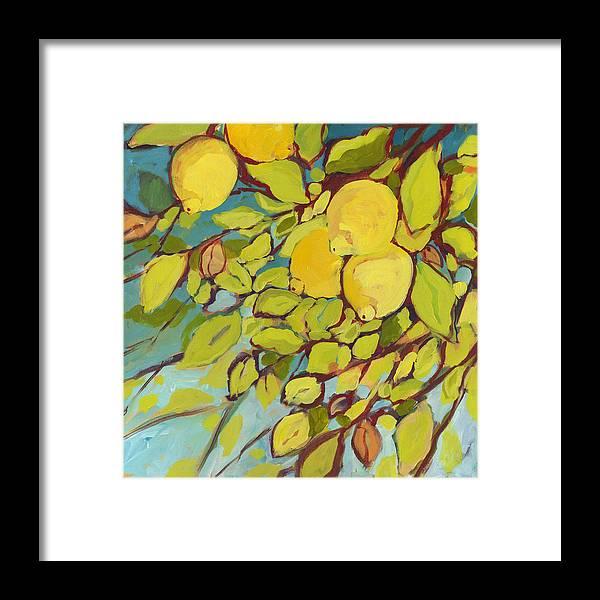 Lemon Framed Print featuring the painting Five Lemons by Jennifer Lommers