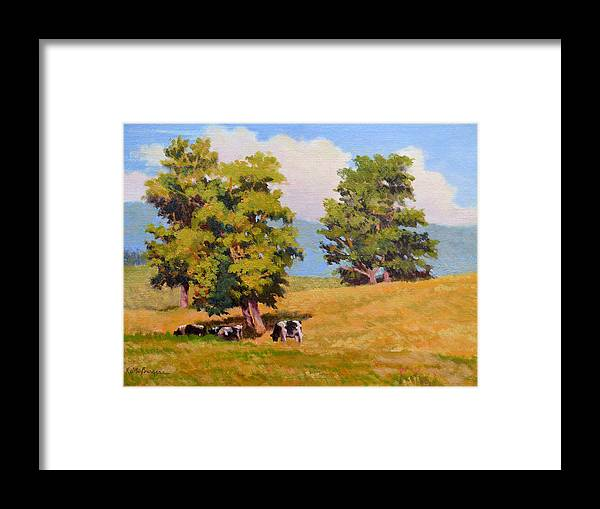 Landscape Framed Print featuring the painting Five Oaks by Keith Burgess