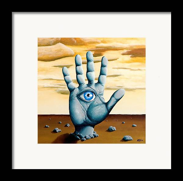 Hand Eye Hamsa Desert Surrealism Landscape Dream Framed Print featuring the painting Five by Poul Costinsky