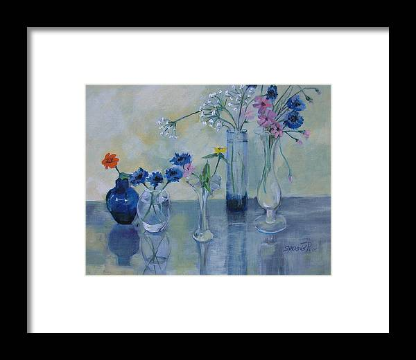 Floral Framed Print featuring the painting Five Vases by Synnove Pettersen