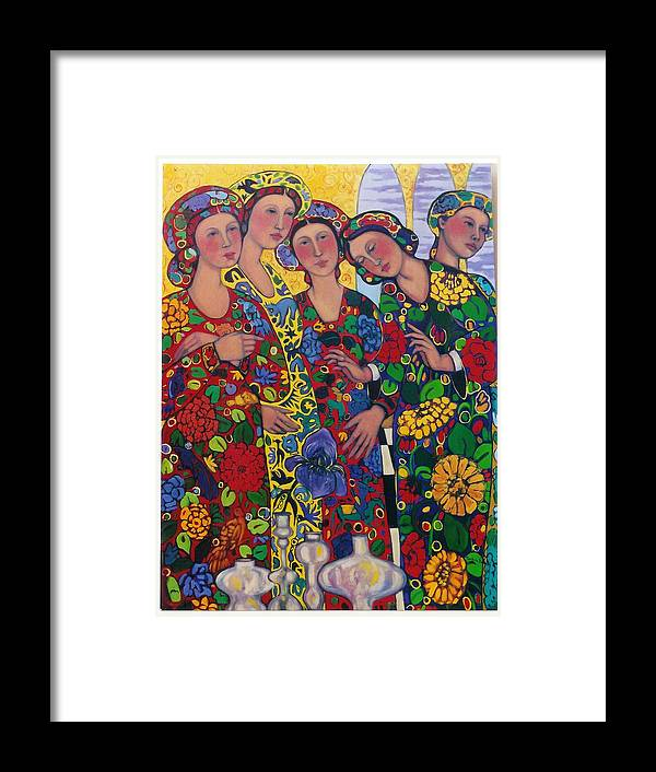 Five Women And The Iris Framed Print featuring the painting Five Women And The Iris by Marilene Sawaf