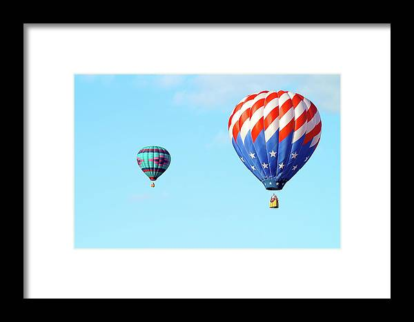 Balloons Framed Print featuring the photograph Flag Balloon by Linda Cupps