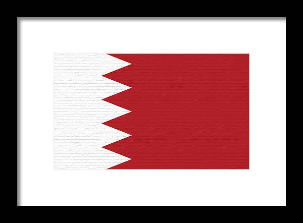 Flag Of Bahrain Framed Print featuring the digital art Flag Of Bahrain Wall. by Roy Pedersen