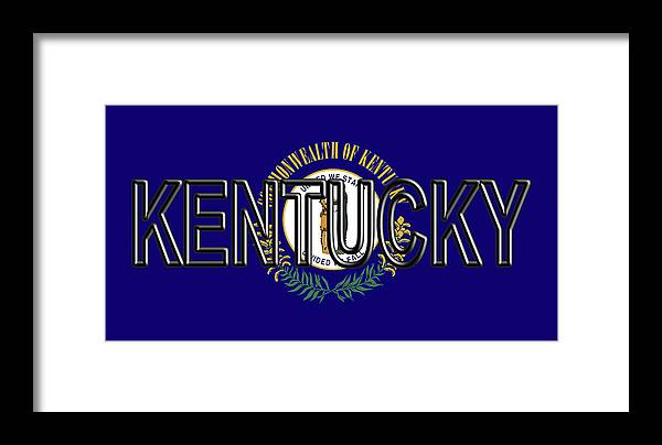America Framed Print featuring the digital art Flag Of Kentucky Word by Roy Pedersen