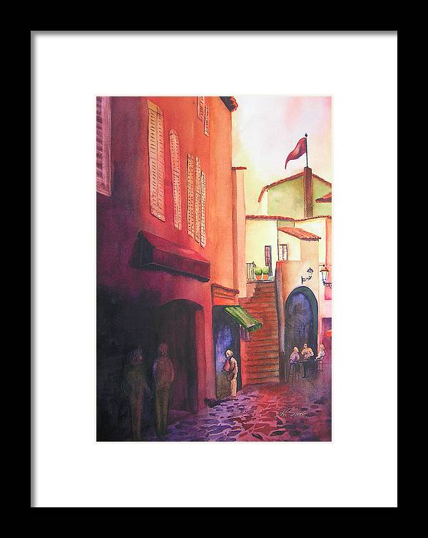 Europe Framed Print featuring the painting Flag Over St. Tropez by Karen Stark