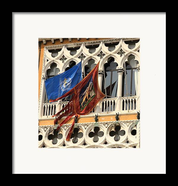 Venice Framed Print featuring the photograph Flags On Palazzo In Venice by Michael Henderson