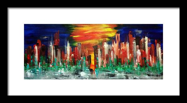 Cityscape Framed Print featuring the painting Flagstaff by Mac Worthington