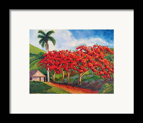 Cuban Art Framed Print featuring the painting Flamboyans by Jose Manuel Abraham