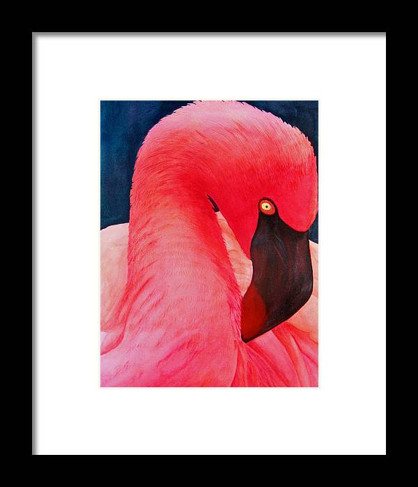 Birds Framed Print featuring the painting Flamboyant Flamingo by Dee Durbin