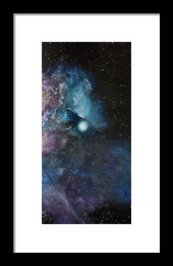 Nebula Framed Print featuring the painting Flame Nebula Ngc 2024 - Triptyc Right Panel by Noemie Sierra