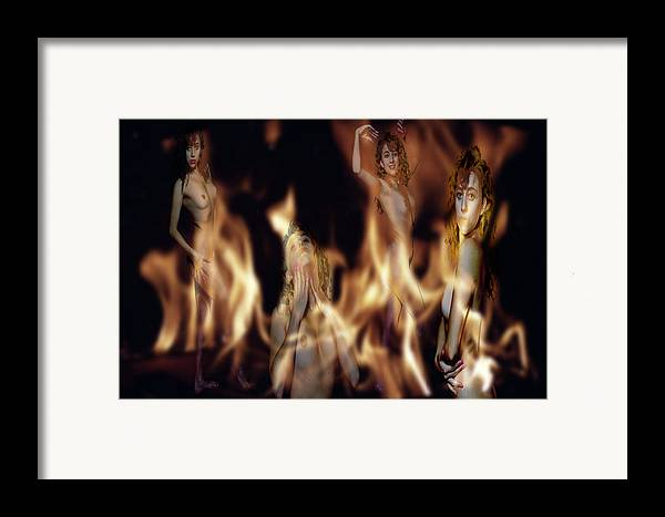 Multiple Exposure Of Model And Flames Framed Print featuring the photograph Flame Nymphs by Richard Henne