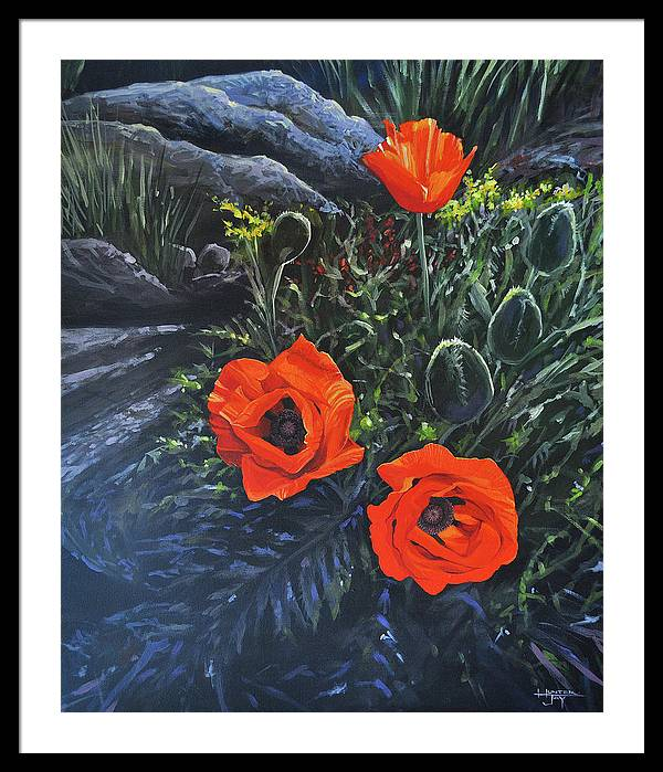 Poppy Framed Print featuring the painting Flame of the West by Hunter Jay