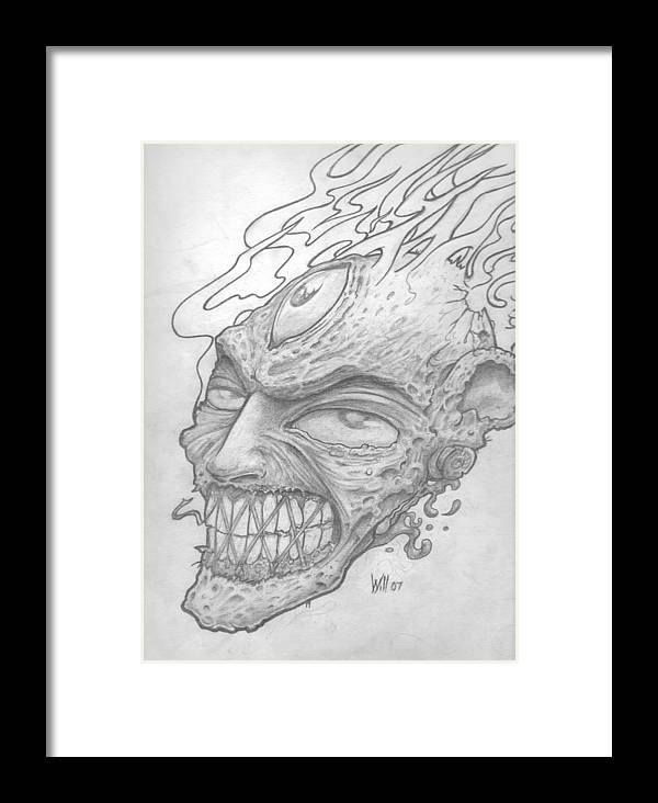 Zombie Framed Print featuring the drawing Flamehead by Will Le Beouf