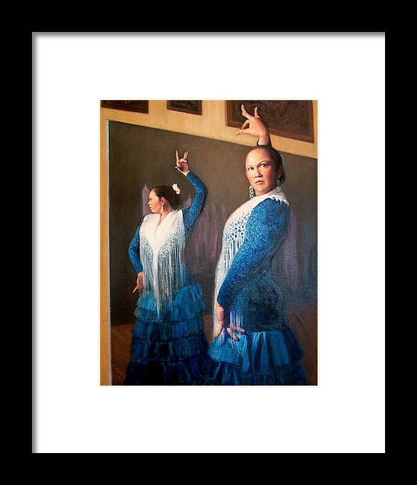 Realism Framed Print featuring the painting Flamenco 3 by Donelli DiMaria