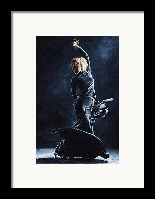 Flamenco Framed Print featuring the painting Flamenco Dexterity by Richard Young