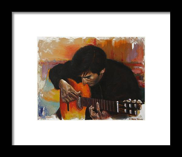 Guitar Framed Print featuring the painting Flamenco Guitar Player by Harvie Brown