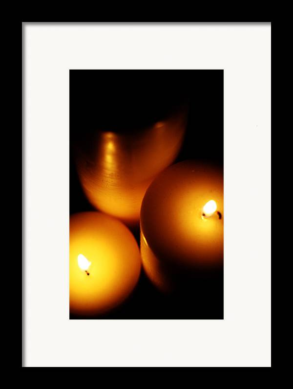 Candles Framed Print featuring the digital art Flames by Lounge Mode Productions Art