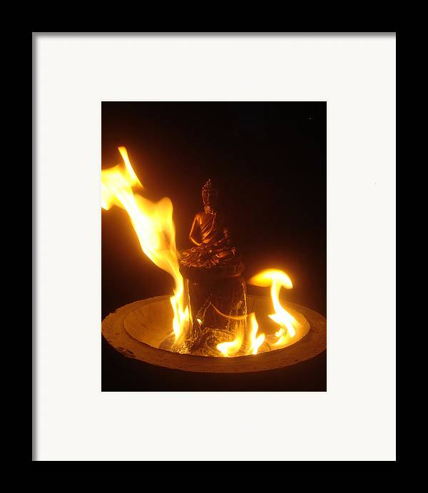 Buddha Framed Print featuring the photograph Flaming Buddha by Steve Griffith