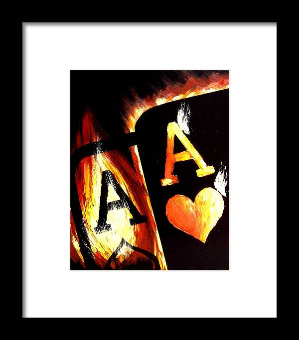 Hot Framed Print featuring the painting Flaming Bullets Pocket Aces Poker Art by Teo Alfonso