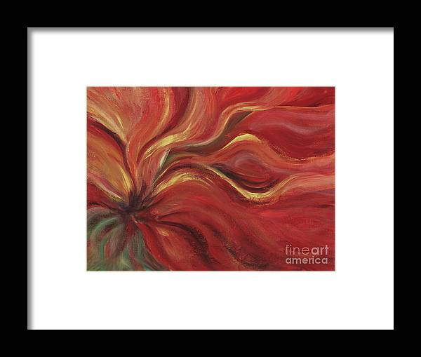 Red Framed Print featuring the painting Flaming Flower by Nadine Rippelmeyer