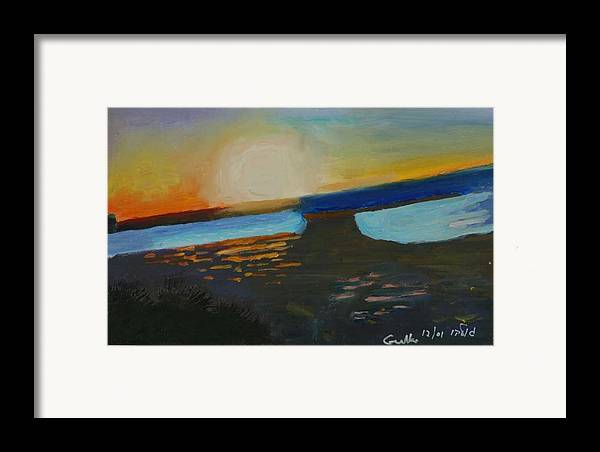 Seashore Framed Print featuring the painting Flaming Sunset  by Harris Gulko