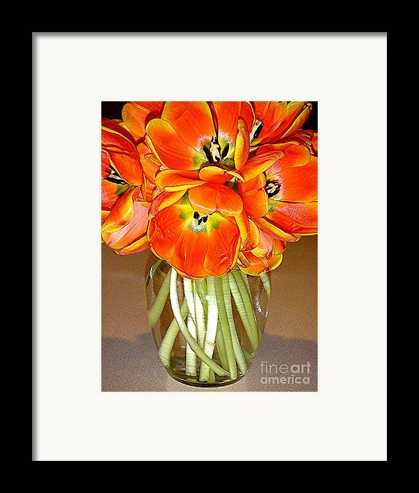 Nature Framed Print featuring the photograph Flaming Tulips In A Vase by Lucyna A M Green