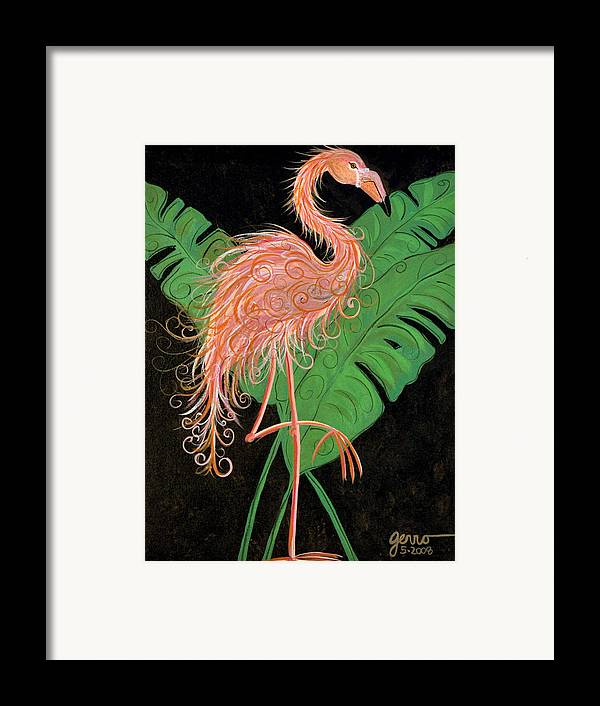 Flamingo Artwork Framed Print featuring the painting Flamingo Art Deco by Helen Gerro
