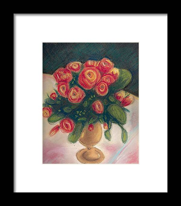 Impressionist Pastel Floral Still Life Roses Spring Framed Print featuring the painting Flamingo Bouquet by Hilary England