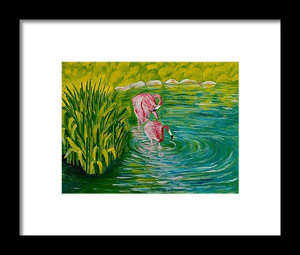 Flamingo Acrylic On Canvas Painting Water Grass Zoo Pink Flamingo Blue Water Framed Print featuring the painting Flamingo by Elena Pronina